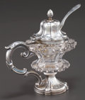 Silver Holloware, Continental:Holloware, A DUTCH SILVER AND ROCK CRYSTAL MUSTARD POT AND LADLE .Unidentified maker, Netherlands, circa 1863. Marks to ladle: (lionp... (Total: 2 Items)