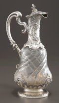 Silver Holloware, French:Holloware, A PIERRE QUEILLE FRENCH SILVER AND CRYSTAL CLARET JUG . PierreQueille, Paris, France, circa 1840. Marks to silver: PQ (...