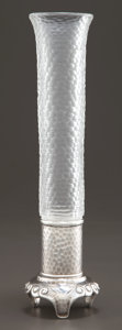 Silver Holloware, American:Vases, A TIFFANY & CO. SILVER AND FACETED GLASS VASE . Tiffany &Co., New York, New York, circa 1879. Marks: TIFFANY & CO.,STERL...