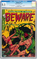Golden Age (1938-1955):Horror, Beware #12 (Youthful Magazines, 1952) CGC VF+ 8.5 Cream tooff-white pages....