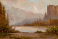 Fine Art - Painting, American:Antique  (Pre 1900), THOMAS HILL (British/American, 1829-1908). Gates ofYosemite. Oil on canvas. 16 x 24 inches (40.6 x 61.0 cm).Signed low...