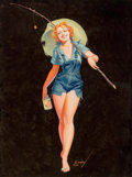 Pin-up and Glamour Art, GEORGE PETTY (American, 1894-1975). Going Fishing, Brown &Bigelow calendar illustration, 1938. Gouache on paper. 32 x2... (Total: 2 Items)