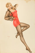 Pin-up and Glamour Art, ALBERTO VARGAS (American, 1896-1982). Portrait of CarolOhmart, 1956. Watercolor on board. 39.25 x 26 in.. Signed lower...