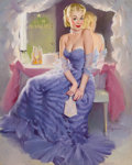 Pin-up and Glamour Art, GIL ELVGREN (American, 1914-1980). Miss Sylvania Backstage,Brown & Bigelow calendar illustration. Oil on canvas. 30 x2...