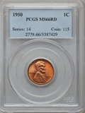 Lincoln Cents: , 1950 1C MS66 Red PCGS. PCGS Population (464/18). NGC Census:(1048/134). Mintage: 272,686,400. Numismedia Wsl. Price for pr...