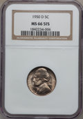 Jefferson Nickels, 1950-D 5C MS66 5 Full Steps NGC. NGC Census: (190/13). PCGSPopulation (511/6). Numismedia Wsl. Price for problem free NGC...
