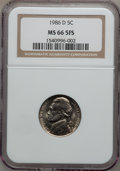 Jefferson Nickels, 1986-D 5C MS66 5 Full Steps NGC. NGC Census: (26/6). PCGSPopulation (20/1). Numismedia Wsl. Price for problem free NGC/PC...