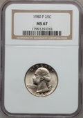Washington Quarters: , 1980-P 25C MS67 NGC. NGC Census: (39/3). PCGS Population (35/0).Mintage: 635,832,000. Numismedia Wsl. Price for problem fr...