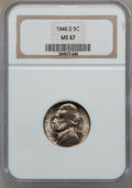 Jefferson Nickels: , 1946-D 5C MS67 NGC. NGC Census: (91/0). PCGS Population (4/0).Mintage: 45,292,200. Numismedia Wsl. Price for problem free ...