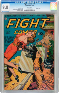 Fight Comics #34 (Fiction House, 1944) CGC VF/NM 9.0 White pages