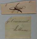 Autographs:Non-American, Prince George, Duke of Cambridge (1819-1904) and William Lamb, LordMelbourne (1779-1848). Clipped Signatures.... (Total: 2 Items)