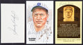 Baseball Collectibles:Others, Grimes, Koufax and Grove Signed Memorabilia Lot of 3....