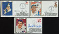 Baseball Collectibles:Others, Mantle, Aaron and DiMaggio Signed First Day Covers Lot of 3....