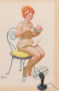 Pin-up and Glamour Art, DUANE BRYERS (American, b. 1911). Hilda, calendar pin-up.Gouache and tempera on board. 17.25 x 11.25 in.. Signed lower ...