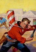 Pulp, Pulp-like, Digests, and Paperback Art, RICHARD LILLIS (American, 1899-1995). Holding Off the Enemy,Big-Book Western magazine cover, October 1947. Oil on canva...(Total: 2 Items)