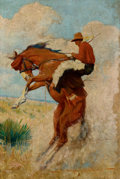 Pulp, Pulp-like, Digests, and Paperback Art, GAYLE PORTER HOSKINS (American, 1887-1962). Cowboy on BuckingBronco, probable western pulp cover. Oil on canvas laid on...