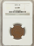 Two Cent Pieces: , 1872 2C Good 6 NGC. NGC Census: (14/323). PCGS Population (14/306).Mintage: 64,000. Numismedia Wsl. Price for problem free...