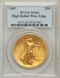 High Relief Double Eagles: , 1907 $20 High Relief, Wire Rim MS64 PCGS. PCGS Population (1032/381). NGC Census: (500/190). Mintage: 11,250. Numismedia Ws...
