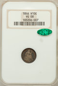 Seated Half Dimes, 1846 H10C VG8 NGC. CAC....