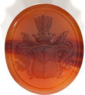 Miscellaneous:Ephemera, Massive Red Agate Double Wax Seal Stamp....