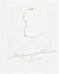 Autographs:Celebrities, Alfred Hitchcock Signed Card with Sketch....