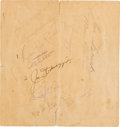 Autographs:Others, 1939 New York Yankees Signed Spring Training Roster with Gehrig....