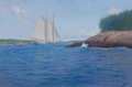Maritime:Paintings, FRANK W. HANDLEN (American, b. 1916). Coaster Going UpChannel. Oil on canvas. 40 x 60 inches (101.6 x 152.4 cm).Signed...