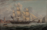 JOHN JENKINSON (British, 1790-1823) A Gun 20 Sloop Departing the Mersey with a View of Liverpool in the Distanc