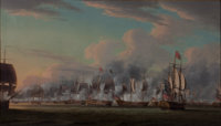 ROBERT DODD (British, 1748-1816) An Action in the East Indies, 1797 Oil on canvas 33 x 57 inches