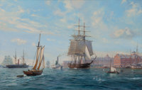 ROY CROSS (British, b. 1924) Sovereign of the Seas Arriving Off Boston Quays, 1992 Oil on canvas