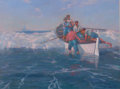 Maritime:Paintings, FRANK W. HANDLEN (American, b. 1916). Putting Off. Oil oncanvas. 43 x 57 inches (109.2 x 144.8 cm). Signed lower right:...