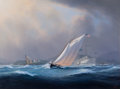 Maritime:Paintings, TIMOTHY H. THOMPSON (American, b. 1951). Breezy Day in CamdenHarbor. Oil on canvas. 36 x 48 inches (91.4 x 121.9 cm). S...