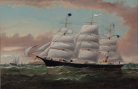 WILLIAM HOWARD YORKE (British American, 1847-1921) Clipper Ship 'Storm King' Oil on canvas 24 x 3