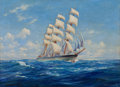 Maritime:Paintings, ANTON OTTO FISCHER (American, 1882-1962). Clipper'Trivitila', 1940. Oil on canvas. 25 x 34 inches (63.5 x 86.4cm). Sig...