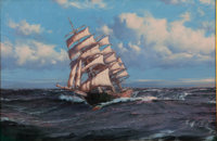 MONTAGUE DAWSON (British, 1895-1973) Clipper 'Aberdeen' Oil on canvas 20 x 30-1/4 inches (50.8 x