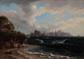 Paintings, THOMAS BIRCH (American, 1779-1851). Figures with Docked Boat at Shoreline, 1838. Oil on canvas. 17-1/4 x 24 inches (43.8...
