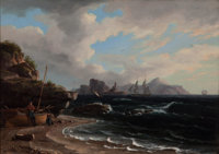 THOMAS BIRCH (American, 1779-1851) Figures with Docked Boat at Shoreline, 1838 Oil on canvas 17-1
