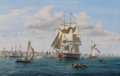 Maritime:Paintings, ROY CROSS (British, b. 1924). Whaler 'Reaper' Anchoring inNantucket Harbor, 1994. Oil on canvas. 22 x 30 inches (55.9x...