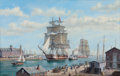 Maritime:Paintings, ROY CROSS (British, b. 1924). Boston Liverpool Packet Parliamentin Boston Harbor, 1998. Oil on canvas. 32 x 50 inches (...
