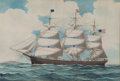Maritime:Paintings, EDWARD J. RUSSELL (American, 1832-1906). American Ship'Theobald'. Watercolor on paper. 25-1/2 x 38 inches (64.8 x96.5 ...