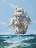 Paintings, JOHN BENTHAM DINSDALE (British, 1927-2008). Clipper Ship 'Cutty Sark'. Oil on canvas. 30 x 40 inches (76.2 x 101.6 cm). ...