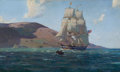 Maritime:Paintings, JOHN P. BENSON (American, 1865-1947). Maine Hills, 'Eliza Mary'of Salem (Off the Coast of Maine). Oil on canvas. 24 x 4...