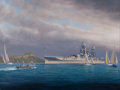 Maritime:Paintings, TIMOTHY H. THOMPSON (American, b. 1951). The 'USS Arizona' ofDiamond Head. Oil on canvas. 38 x 50 inches (96.5 x 127 cm...