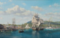 Paintings, ROY CROSS (British, b. 1924). Camden, Maine in the Mid-19th Century, 1995. Oil on canvas. 32 x 50 inches (81.3 x 127 cm)...