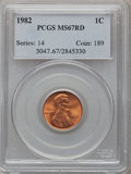 Lincoln Cents: , 1982 1C MS67 Red PCGS. PCGS Population (286/17). NGC Census: (0/0).Numismedia Wsl. Price for problem free NGC/PCGS coin i...