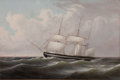 Maritime:Paintings, THOMAS BIRCH (American, 1779-1851). Bark. Oil on canvas. 18x 27 inches (45.7 x 68.6 cm). THE MBNA COLLECTION OF MARIT...