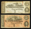 Confederate Notes:1863 Issues, 1863 and 1864 $5s.. ... (Total: 2 notes)