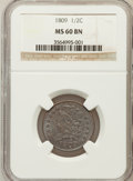 Half Cents, 1809 1/2 C MS60 Brown NGC. C-3, B-4, R.1....