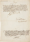Autographs:Non-American, Queen Isabella of Spain Document Signed...