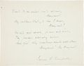 Autographs:Authors, James Ryder Randall Poem Verse Signed...